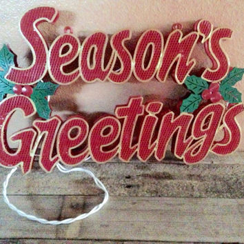 Vintage lighted seasons greetings sign