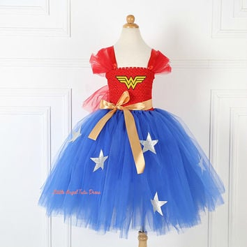 Wonder Woman Tutu Dress. Handmade Tutu. Wonder Woman Costume. Wonder Woman Dress. Fancy Dress. Superhero Dress. Birthday Party. Pageant