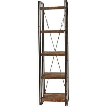 Abran Reclaimed Wood & Metal Book Shelf/Wall Unit Small