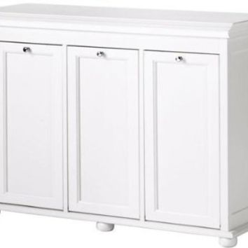 Hampton Bay 37 Inch White Triple Tilt Out Hamper, TRIPLE, WHITE