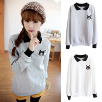 Sweet Autumn Cat Print Collared Fleece Long Sleeve Sweater