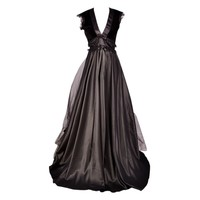 Long Black Lace Overlay Gothic Dress