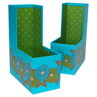 Daisy Magazine Holders, Turquoise, Set of 2, Office Supplies