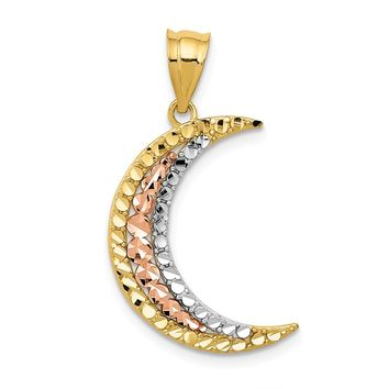 14K Yellow, Rose Gold and Rhodium Diamond-cut Moon Pendant