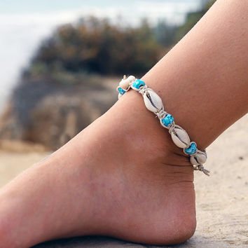 Cowrie Shell Anklet, Glass Beads, Macrame Anklet, Beach Anklets, Hemp Anklets