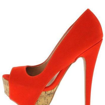 Qupid Tangerine Orange Heels