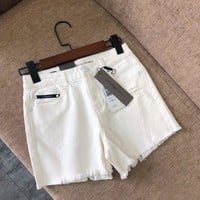 Calvin Klein Jeans Women Summer White Denim Short