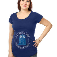 Future Time Lord Maternity Tee - Blue,