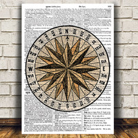 Mariners star art Nautical print Vintage print Compass poster RTA1109