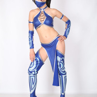 Kitana Costume sexy Mortal kombat Mortal Combat Adult hot princess video game face mask Halloween for women deluxe fancy dress cosplay toga