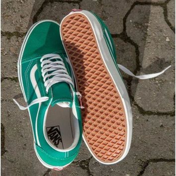 Vans With Warm Casual Shoes Men and women classic black cloth shoes Green