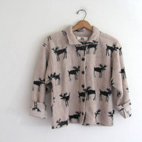 vintage fleece jacket. reindeer print blanket coat. button down coat. size M
