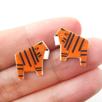 Cute Tiger Animal Origami Illustration Stud Earrings | Handmade Shrink Plastic