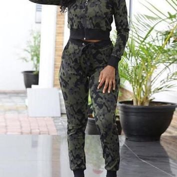 New Army Green Camouflage Zipper Pockets High Waisted Casual Two Piece Long Jumpsuit