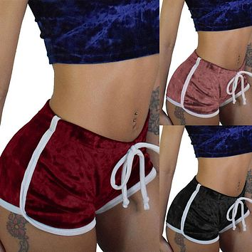 BKLD 2019 New Summer Shorts Women Casual Fitness Shorts Fashion Sexy Bodycon Workout Velvet Short Pants Soft Velour Home Shorts