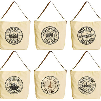 World Cities, Places Beige Printed Canvas Tote Bag with Leather Strap WAS_29
