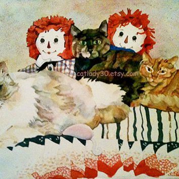 Ragdoll Cat Watercolor Print. Raggedy Ann and Andy. Cat painting. Cat wall art. Cat picture. Ragdoll painting. Quilt painting. Country decor