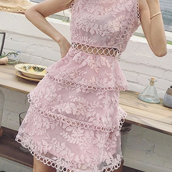 Pink Sleeveless High Neck Cut Out Detail Layered Sheer Lace Dress