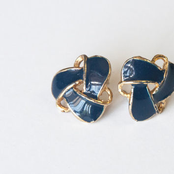 Vintage 1980s Blue & Gold Tone Knot Earrings / vtg pierced retro navy royal blue studs / 90s mod punk retro july 4th Fourth of July Jewelry