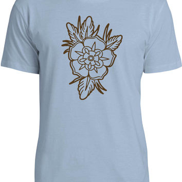 Old School Floral Tattoo (Brown) Mens Fine Jersey T-Shirt