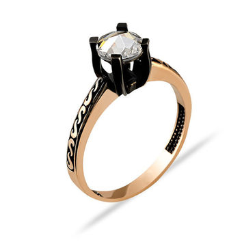 Rose Cut Black Solitaire 14k Solid Gold Engagement Ring Rose Gold