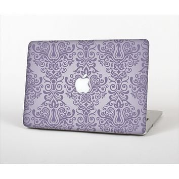 The Light Purple Damask Floral Pattern Skin Set for the Apple MacBook Pro 15""