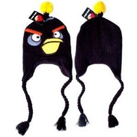 Angry Birds Bomb Black Bird Plush Beanie Embroidered Laplander Earflap Winter Fleece Knit Ski Cap Hat / Officially Licensed Product By Rovio