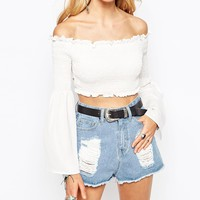 Missguided Chiffon Off The Shoulder Gypsy Top