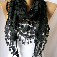 Triangular Black Scarf with Trim Edge-Shawl