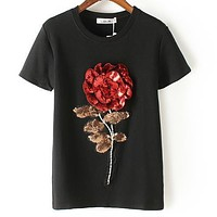 New Summer women sequin t shirt fashion cotton female rose flower tops t-shirt  camisetas mujer