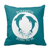 Turquoise Playing Jumping Dolphins With Bubbles Throw Pillow