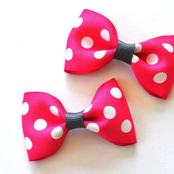 WHOLESALE Lot of 10 Hairbows- bright pink polka dot - headband decor  - embellishment - hair supplies - baby - girl - teen - women