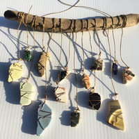Beach Pottery Shard Driftwood Mobile Upcycled Beach Glass Eco Friendly Lake Erie Nautical Decor Coastal Decor Driftwood Art  Wall Hanging