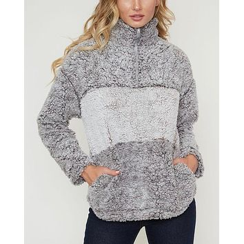 colorblock two tone sherpa half-zip pullover - grey/mocha