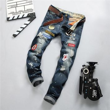2017 Mens Jeans Men's Trousers Embroidery Biker Jean Casual Clothing Skinny Motorcycle Hip Hop Denim Ripped Men Plus Size Pants
