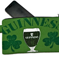 Guiness Bag Green Upcycled T-shirt Wristlet Clutch