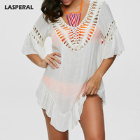 LASPERAL Sexy Cover Ups Swimwear White Braided Rope Pattern Hollow Out Loose Soft Ethnic Swim Bath Suit Women Summer Beach Party