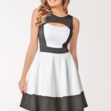 Black and White Sleeveless Cut-Out Skater Dress
