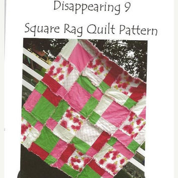 Clearance Sale 65% Off PATTERN Rag Quilt, Toddler Bedding, Baby Blanket, SEWING Instructions, Disappearing 9 square, Mailed Hard Copy Versi