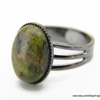 Unakite Natural Stone Ring 14x10mm Gunmetal Plated Adjustable Ring