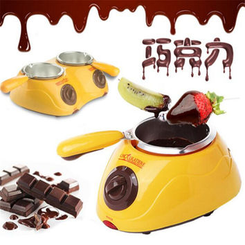 Electric Chocolate Fountain Fondue Singer  Chocolate Melt Pot melter Machine Yellow & Pink