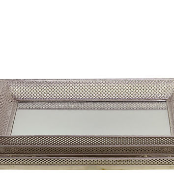 Metal Tray/Mirror Set of Three Designed w/ Crisscross Pattern in Silver