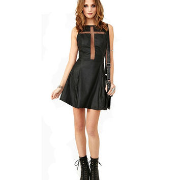 Black PU Cross Mesh Insert Skater Dress