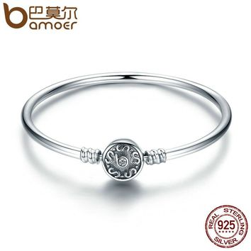 Authentic 100% 925 Sterling Silver Classical Silver S Pave Vintage Snake Chain Bangle & Bracelet Luxury Jewelry SCB013