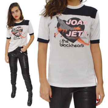Vintage 80s Joan Jett & The Blackhearts I Love Rock-n Roll U.S. Tour 1982 Ringer T Shirt Sz M