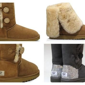 Custom UGG Boots made with Swarovski Bailey Button Triplet Free: Shipping, Repair Kit,