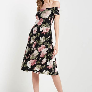Tres Jolie Off the Shoulder Midi Dress
