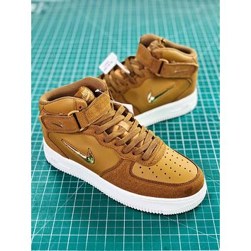 Nike Air Force 1 Jewel Mid Bronze Metallic Gold Fashion Shoes