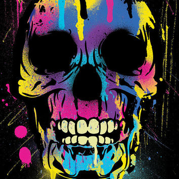 Cool Colorful Skull With Paint Splatters And Drips