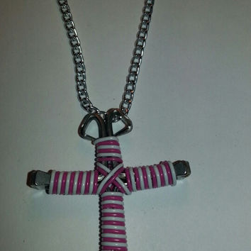 Neon pink and white candy cane wire wrapped horseshoe nail cross necklace jewelry